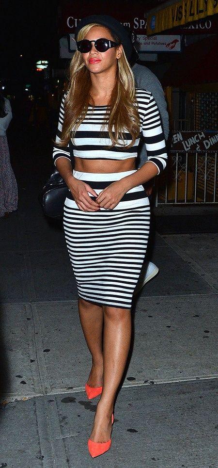 Black And White Stripe Crop Top Midi Skirt Set Salmon Heels