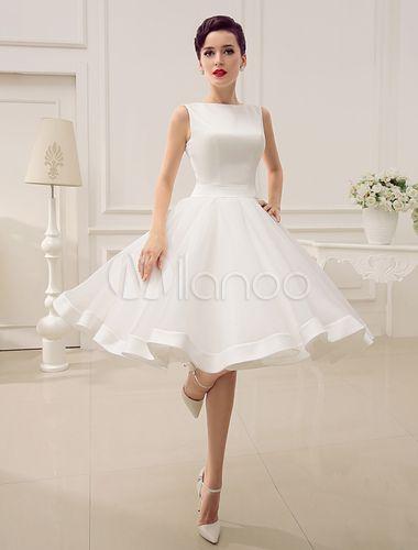 Vestido de novia barato 2018 corto Vestido de novia de la vendimia ...