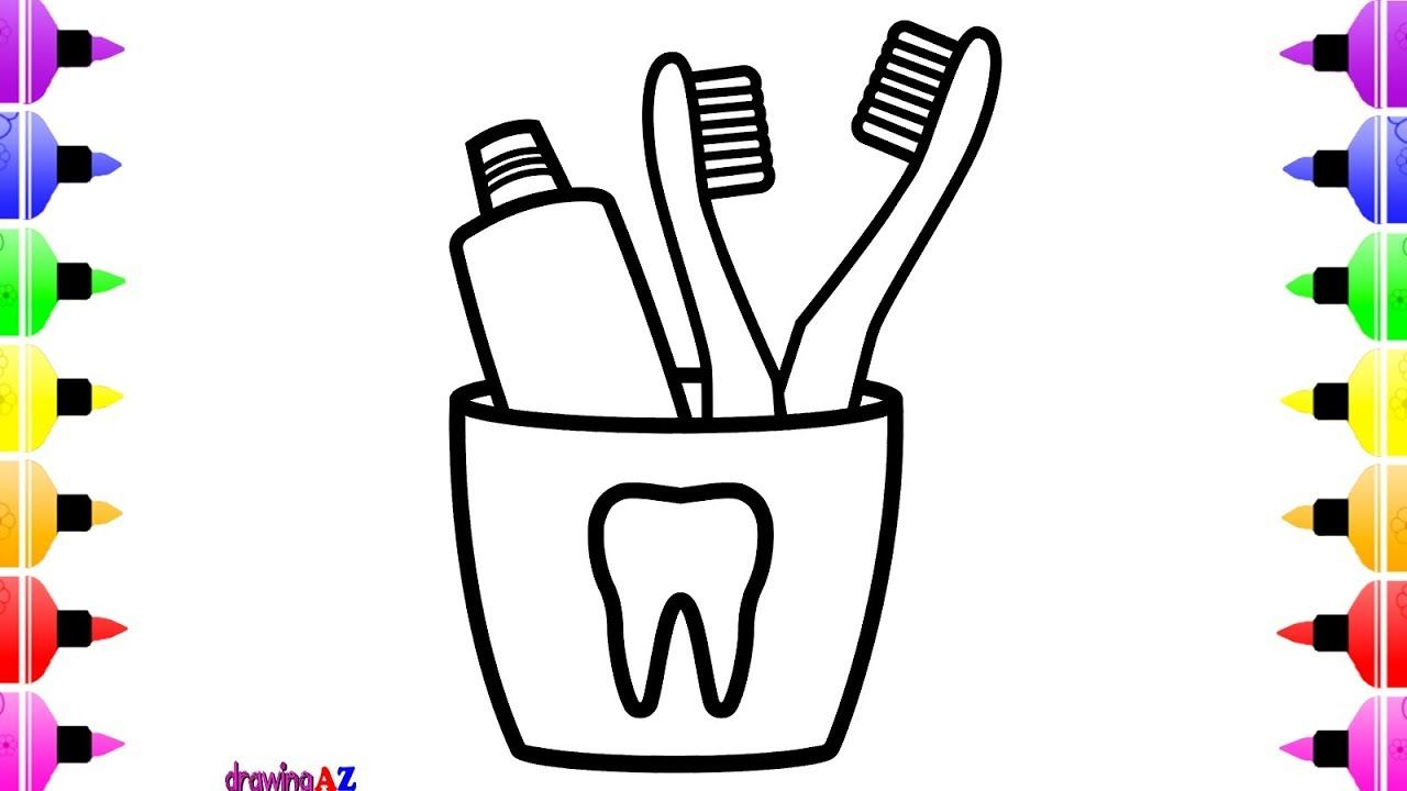 How To Draw Toothbrush And Toothpaste For Kids Coloring Page For