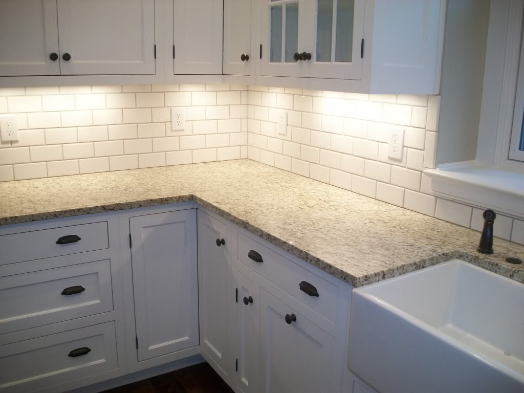 white tile kitchen backsplashes | shade of white subway tile