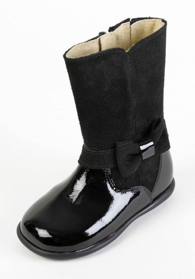Beautiful Tinny girls black patent leather boot with part black ...