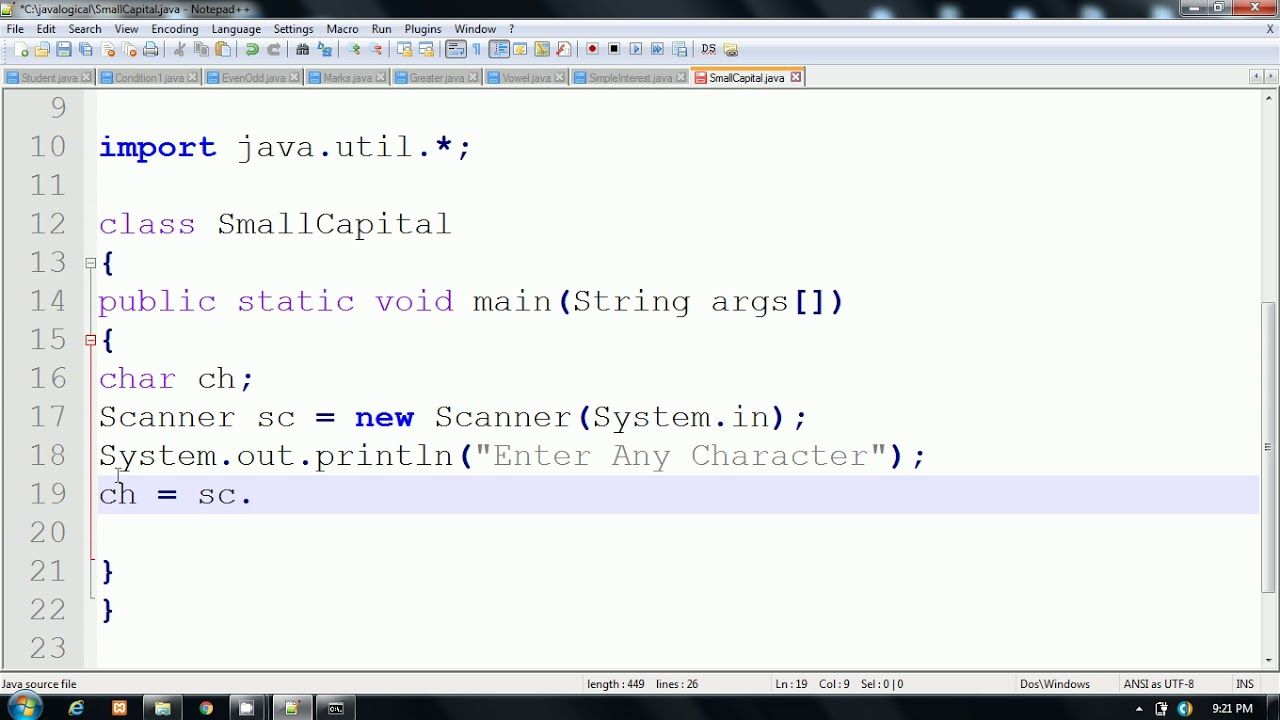Java Program to check whether a character is capital,small,digit or