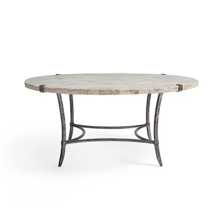 "Boracay 42"" Coffee Table With Marble Top in Platinum"