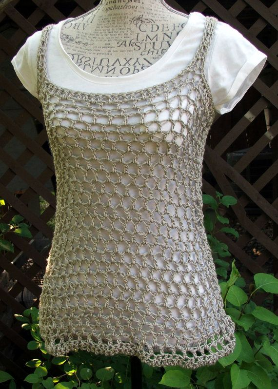 Crochet Tank Top. Summer top. Taupe. Made by Bead Gs on by BeadGs ...