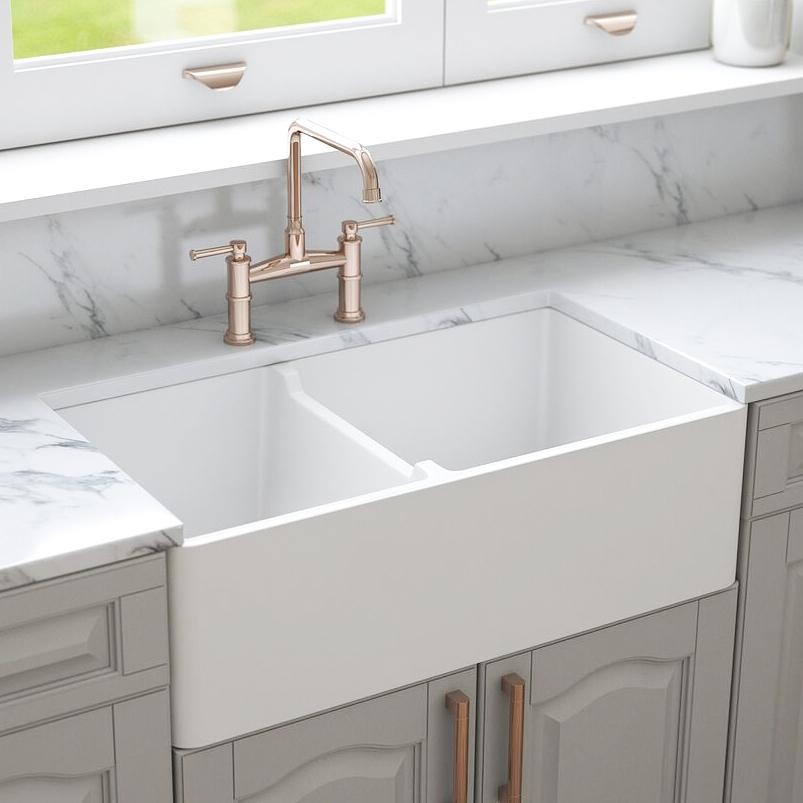 33 Fireclay Double Bowl Farmhouse Kitchen Sink By Crestwood