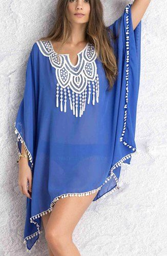 Sexy Scoop Neck 3/4 Sleeve See-Through Chiffon Cover-Up For Women