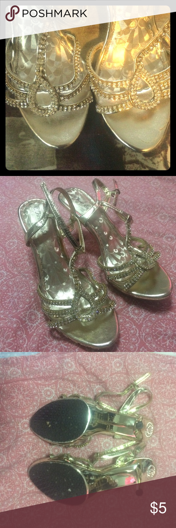 BEAUTIFUL GOLD HEELS defect: one shoe is missing the shoe belt refer to picture :other than that in great condition worn only once Shoes Heels