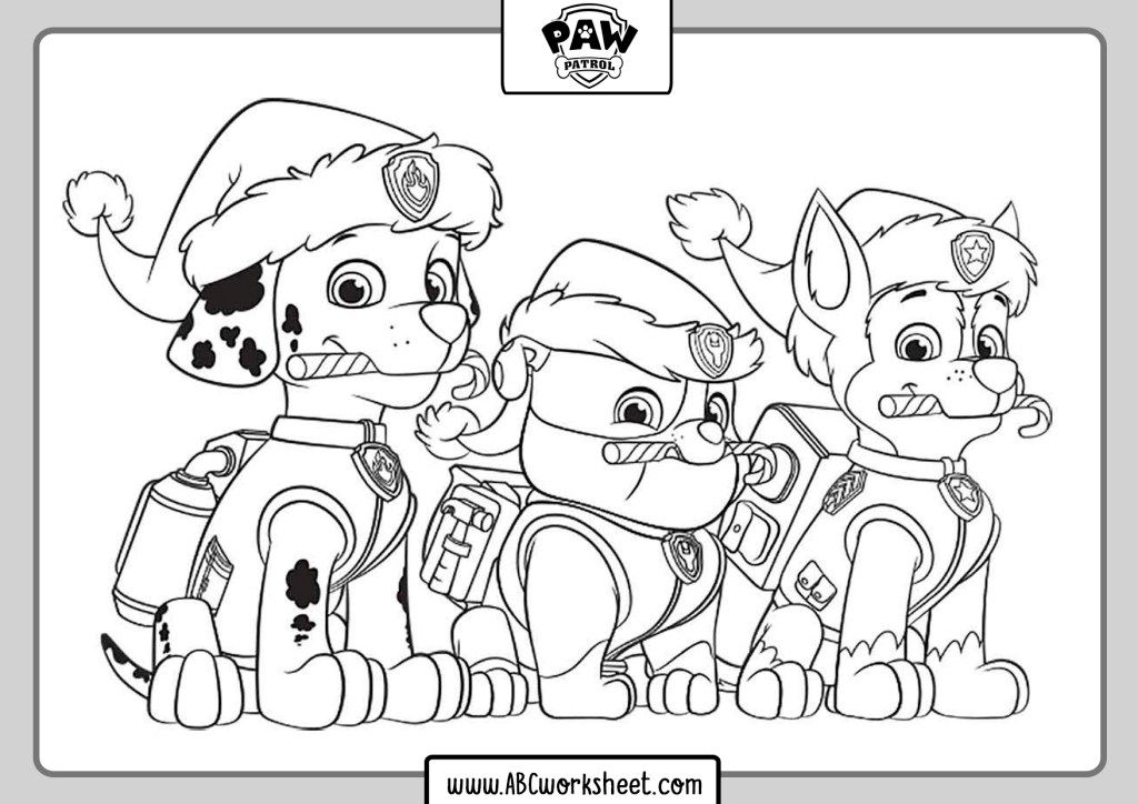 Paw Patrol Coloring Pages Abc Worksheet In 2020 Paw Patrol Coloring Pages Paw Patrol Christmas Paw Patrol Coloring