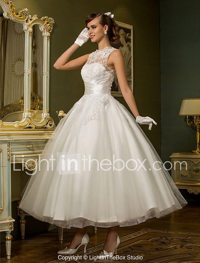 princesa escote de ilusión hasta el tobillo tul vestido de novia con