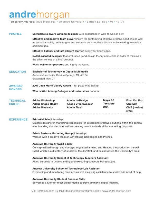 profile section resume