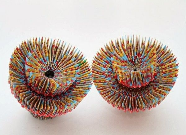 Paper Sculptures Made from Discarded Lottery Tickets