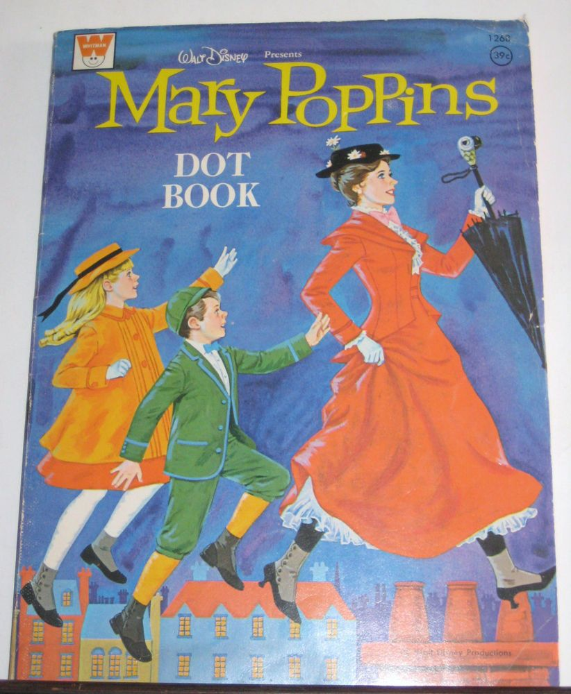 Mary Poppins Dot & Coloring Book Whitman 1966 Walt Disney Story Book