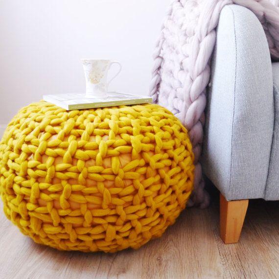 Mustard Yellow Knitted Pouf Ottoman Footstool Mustard Pouffe