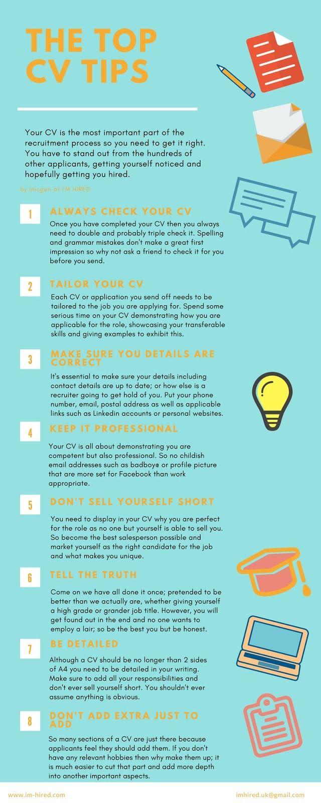 Cv Top Tips How To Get Your Cv Noticed Branding Pinterest