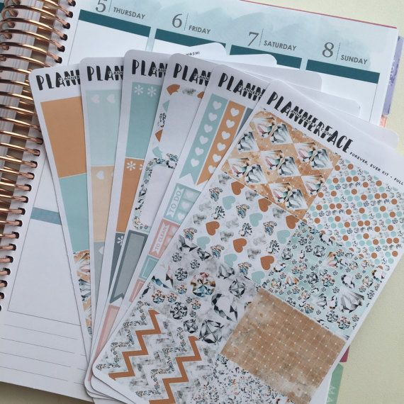 "Diamond & Marble Planner Sticker Full Weekly Kit ""Forever Ever,"" Blue, Beige, Pink, Vertical Erin Condren Stickers, Happy Planner"