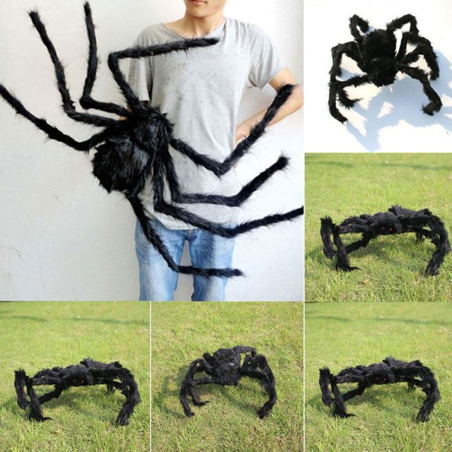 30/50/75cm Large Spider Made Of Wire And Plush Two Style Funny Toy - large outdoor halloween decorations