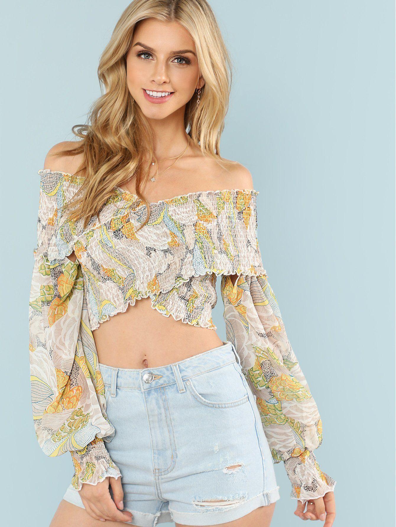 8f21692351b438 Cross Wrap Shirred Floral Bardot Top