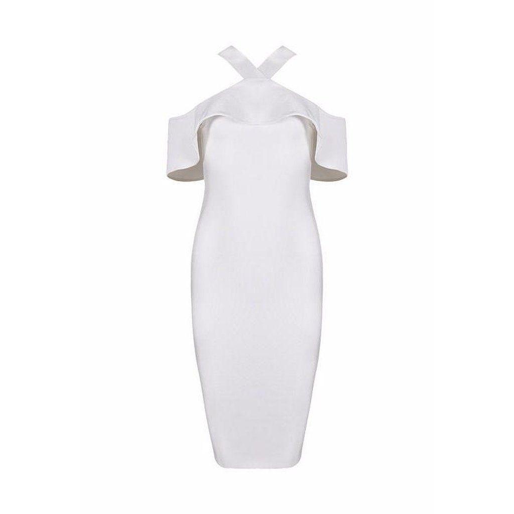 Ruffled Halter Bandage Midi Dress