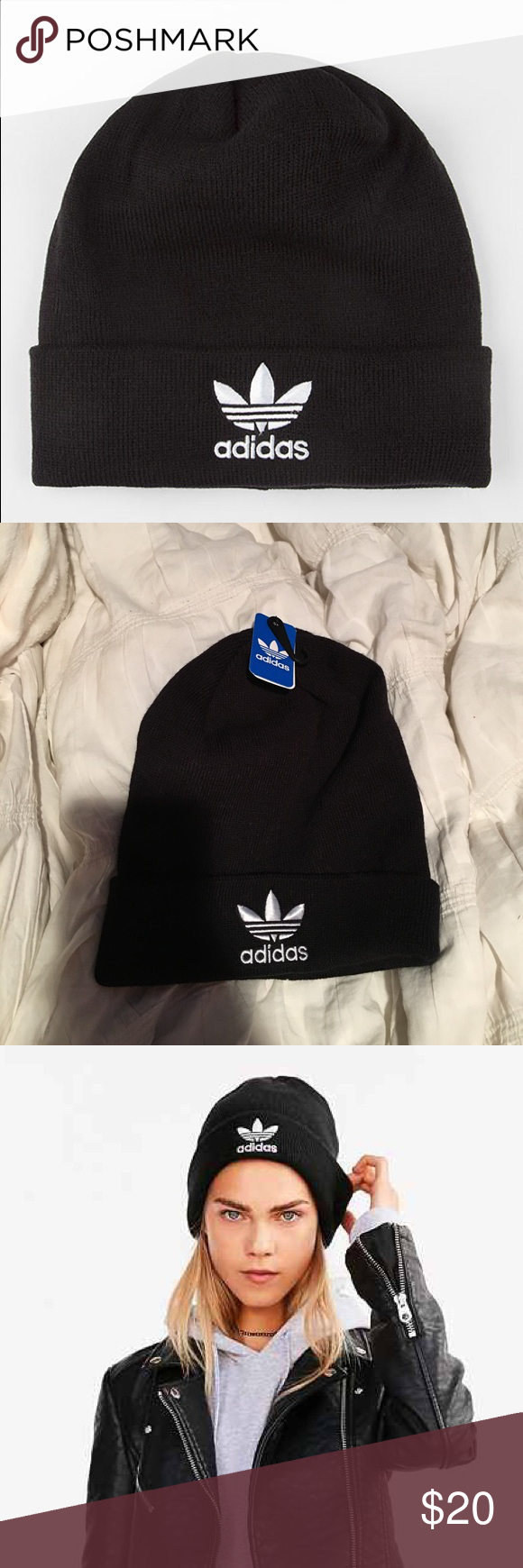 Adidas Trefoil Beanie Black Adidas Trefoil Knit Beanie. Brand new   super  cute Would be happy to post more pictures upon request 📷 Always willing to  ... 45a45e2e9994