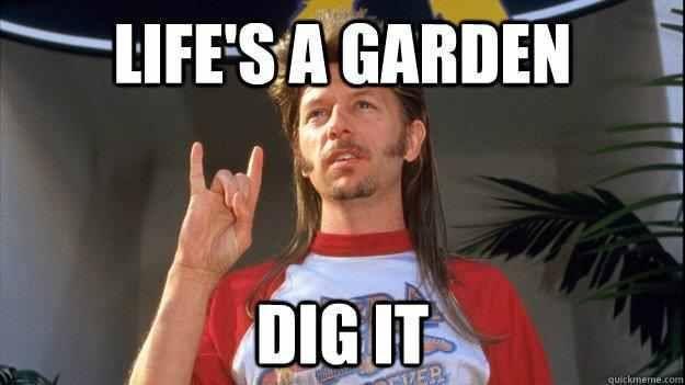 Life's a garden. Dig it! Joe Dirt Joe dirt, Live life
