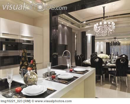 Place settings at breakfast bar in modern kitchen [lmg 023