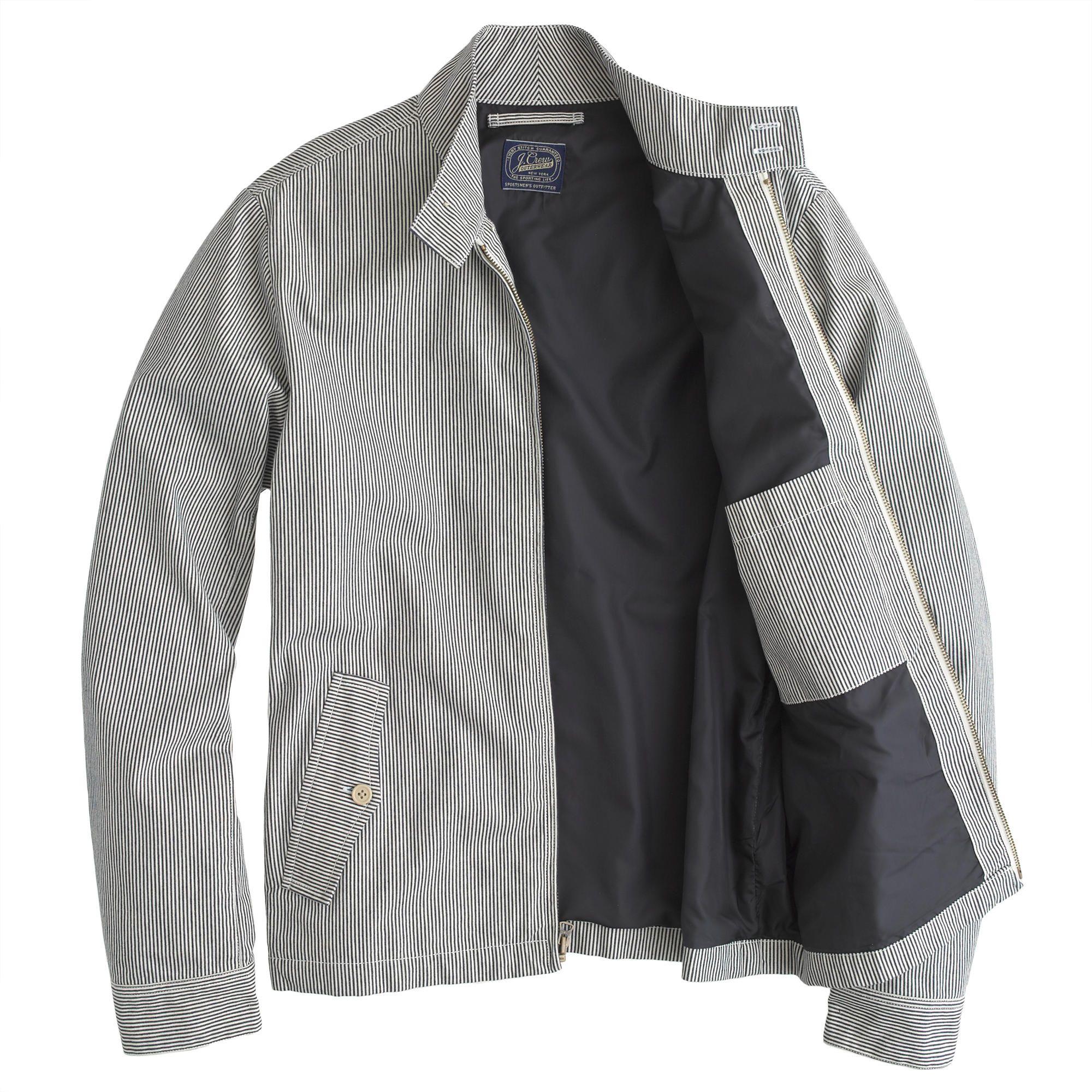 81f3320cf654 Engineer-striped Harrington jacket   cotton