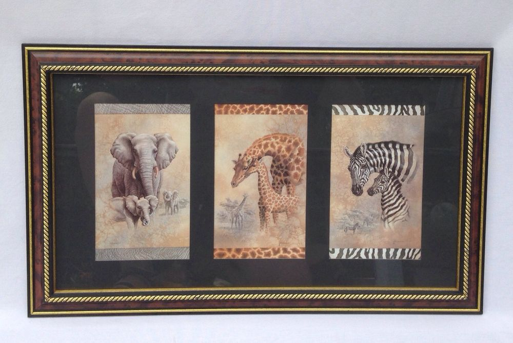 Home Interiors Picture Framed Print Collectible Elephant Zebra Giraffe Rare Vintage House Interior Pictures Framed Art