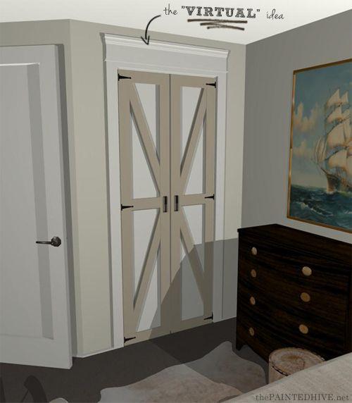 Barn Door Virtual Rendering Diy For Ugly Bi Fold Doors Decor