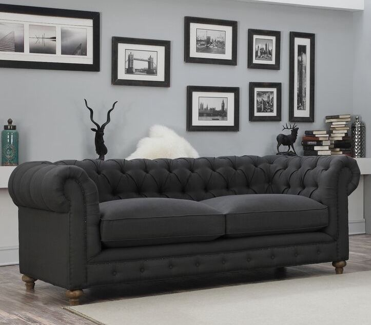New 90 Kensington Style Chesterfield Sofa Upholstered Charcoal