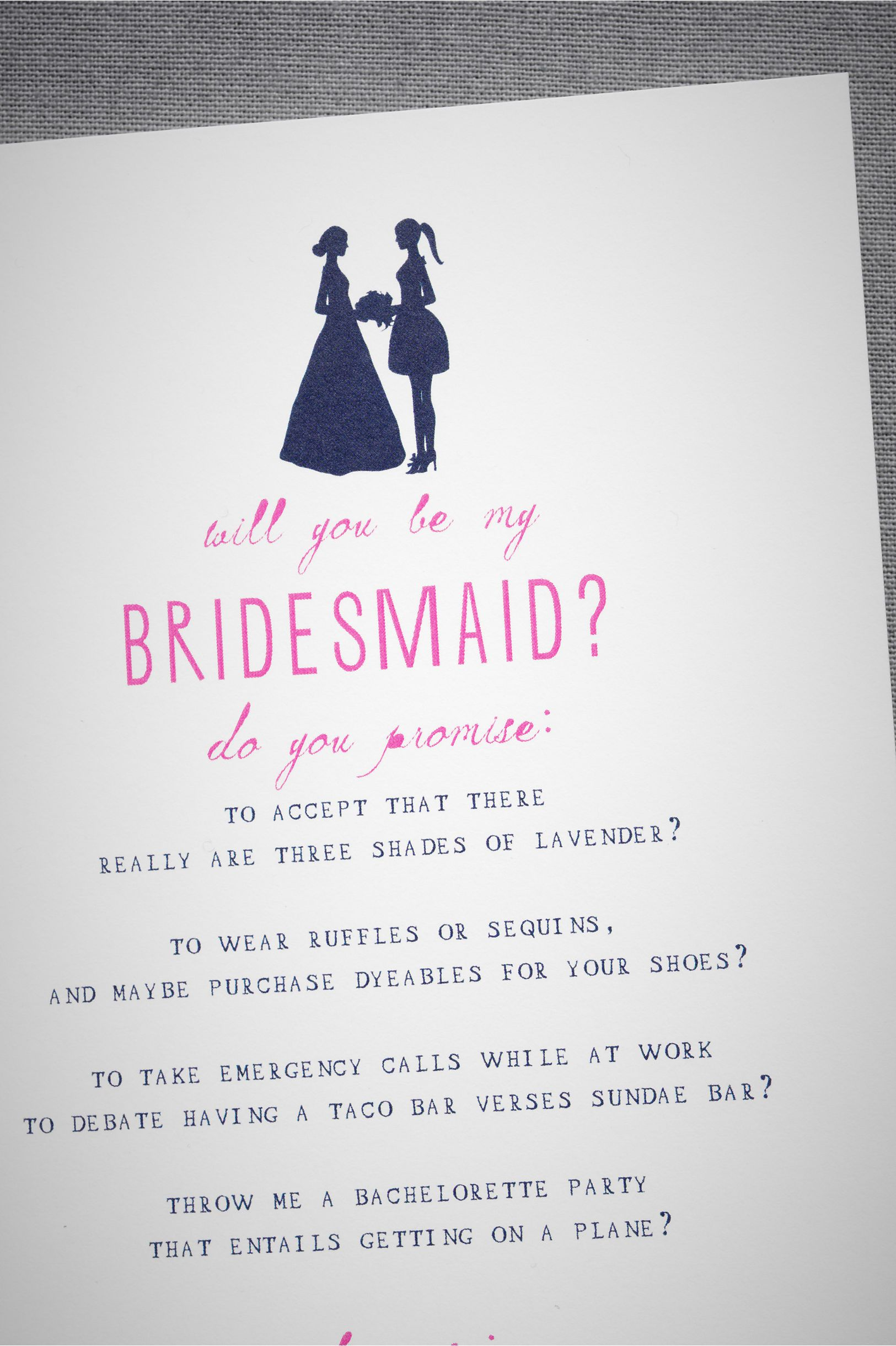 Bridesmaid Silhouette Card From Bhldn Paper Goods Wedding