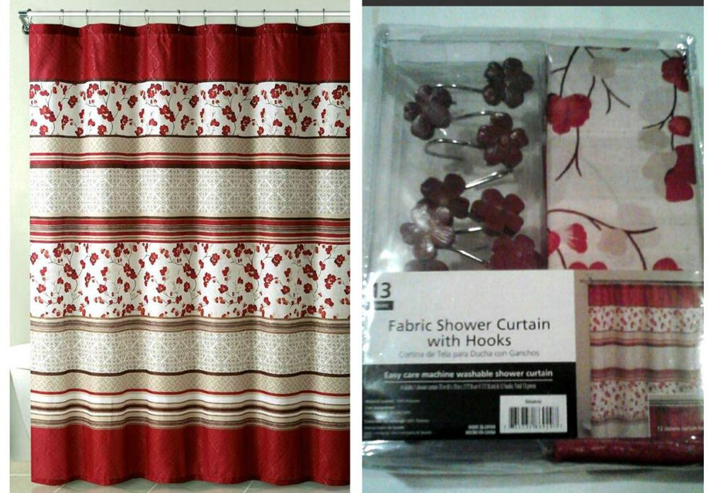 red and tan shower curtain. Delancy Red Floral Embossed Fabric Shower Curtain Matching Hooks 70x70  Tans Unbranded FloralStripes