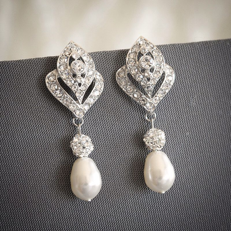Bridal Earrings Crystal Wedding Swarovski Teardrop Pearl Stud Art Deco Rhinestone