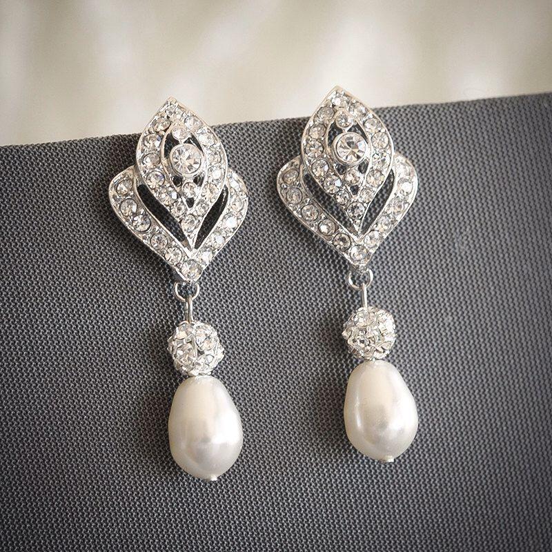 Bridal Earrings, Crystal Wedding Earrings, Swarovski Teardrop ...