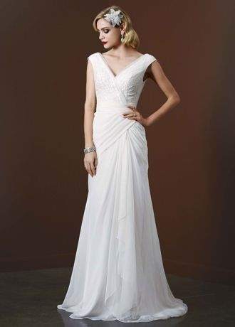 SAMPLE: Chiffon Sheath Wedding Dress with Sequin Tulle Bodice Style AI26020079