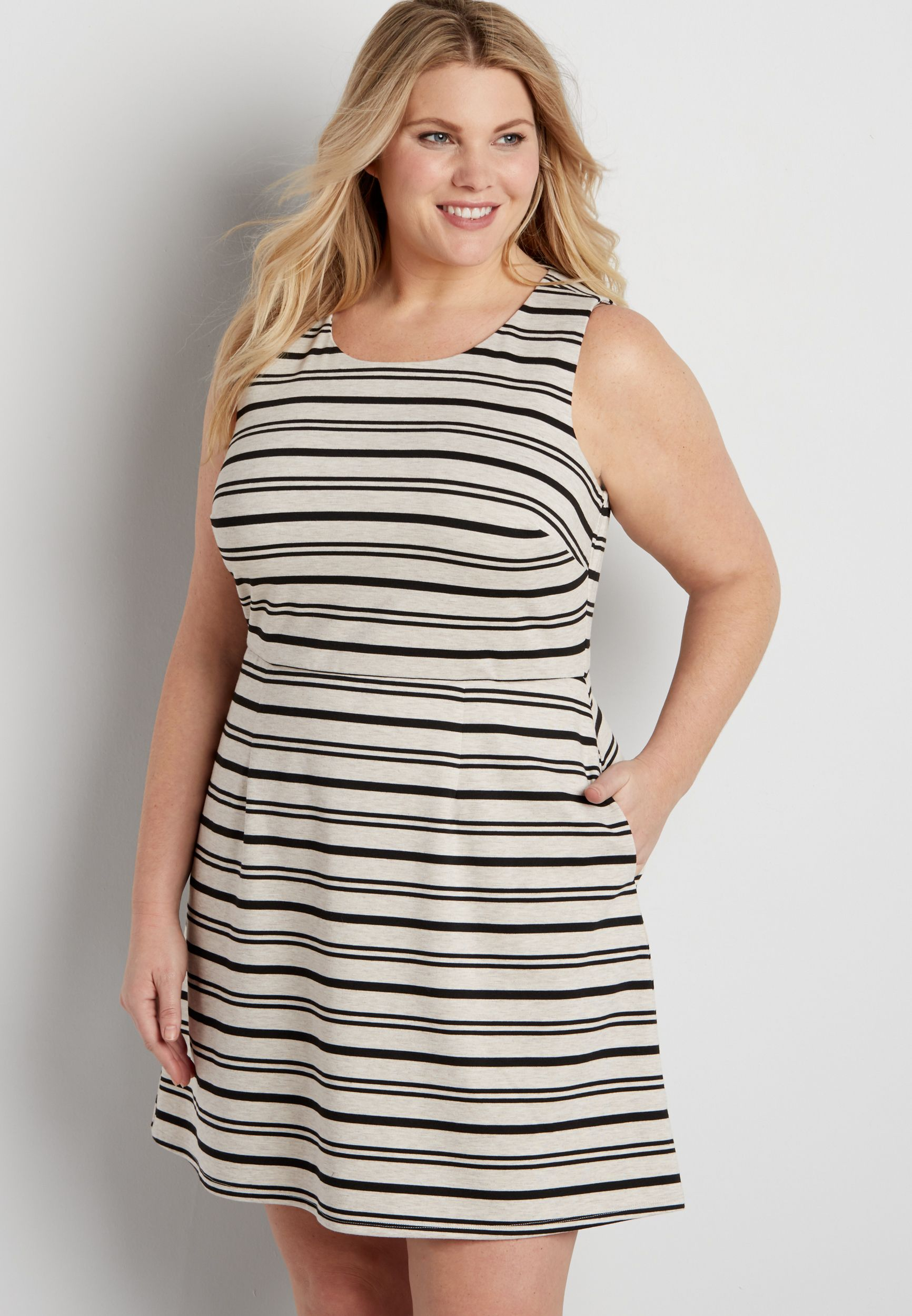 plus size dress with black and oatmeal stripes (original price ...