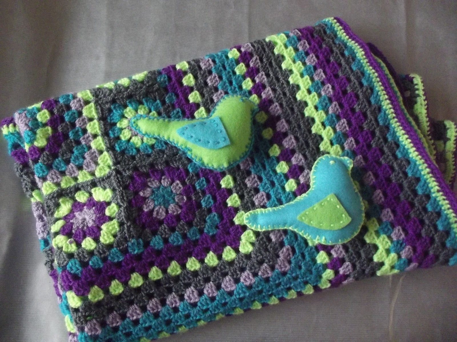 Green and Purples Granny Square Afghan