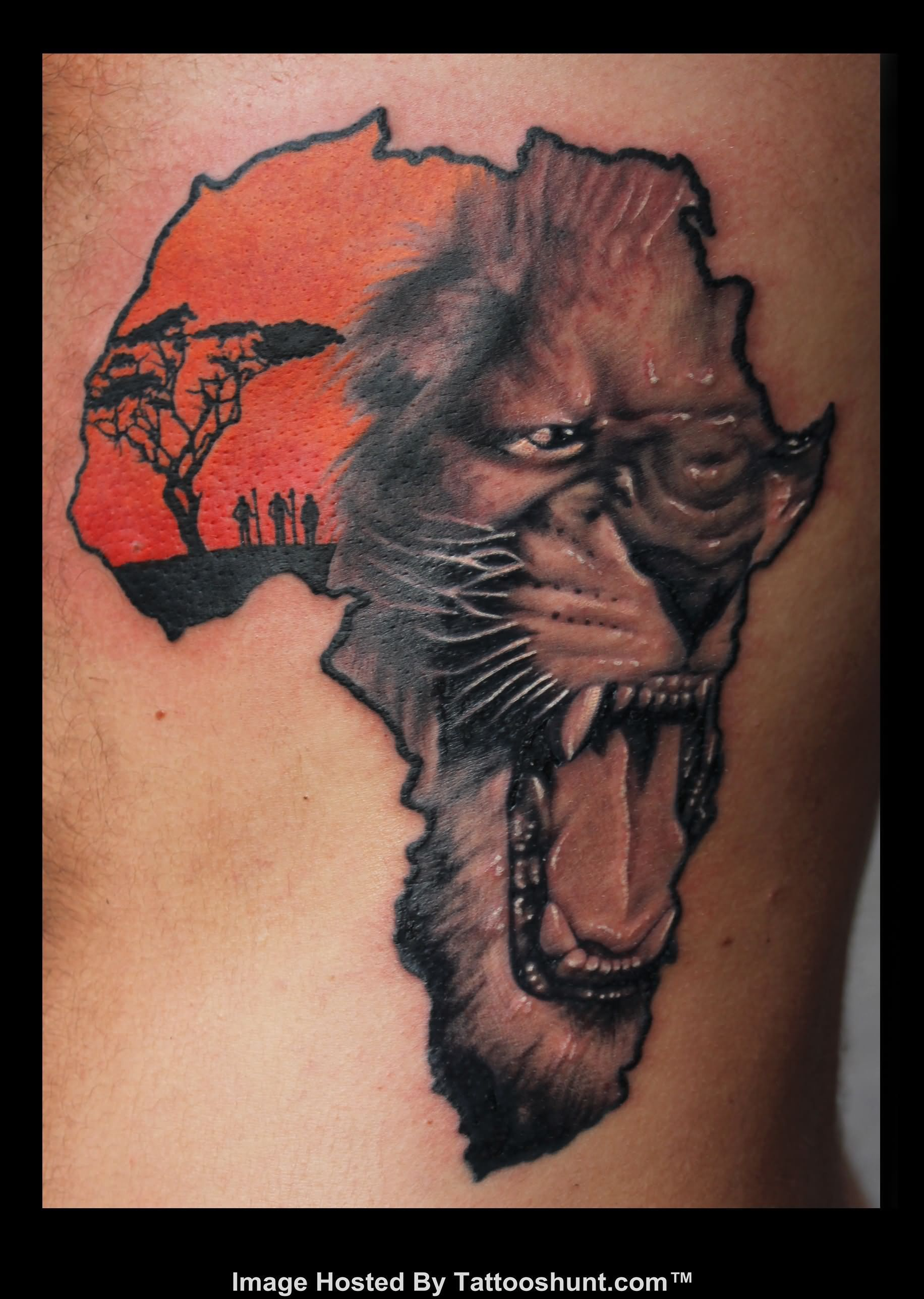 Outline Lion Face In African Map Tattoo On Full Back | Tattoos