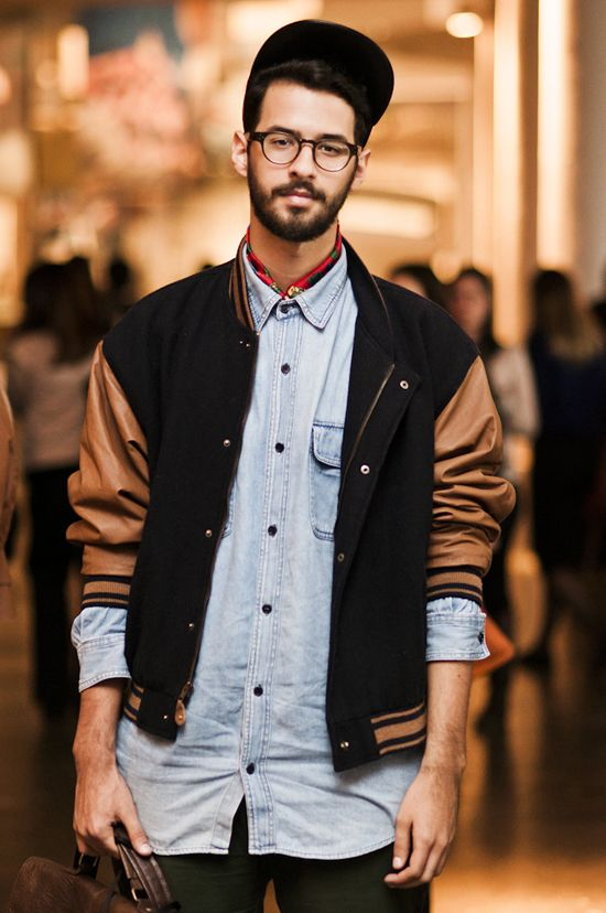 Denim Shirt And Baseball Jacket Like Casual Wear For Men Mens Street Style Mens Outfits