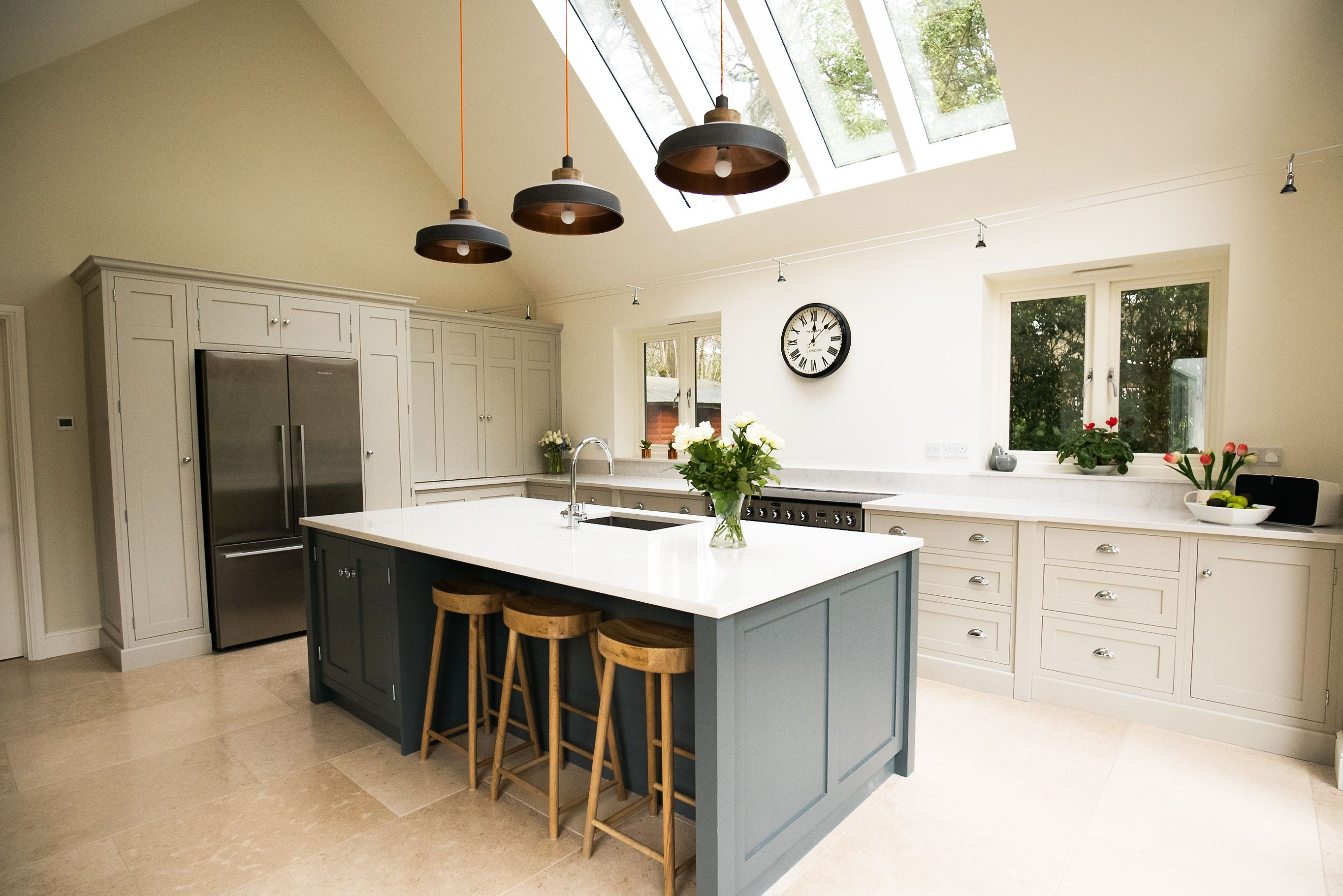 Beautiful shaker kitchen with a large island from The White