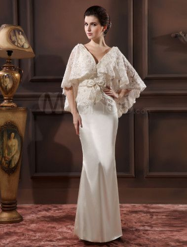 Elegant Ivory Lace V-Neck Sexy Evening Dress Wedding Guest Dress ...