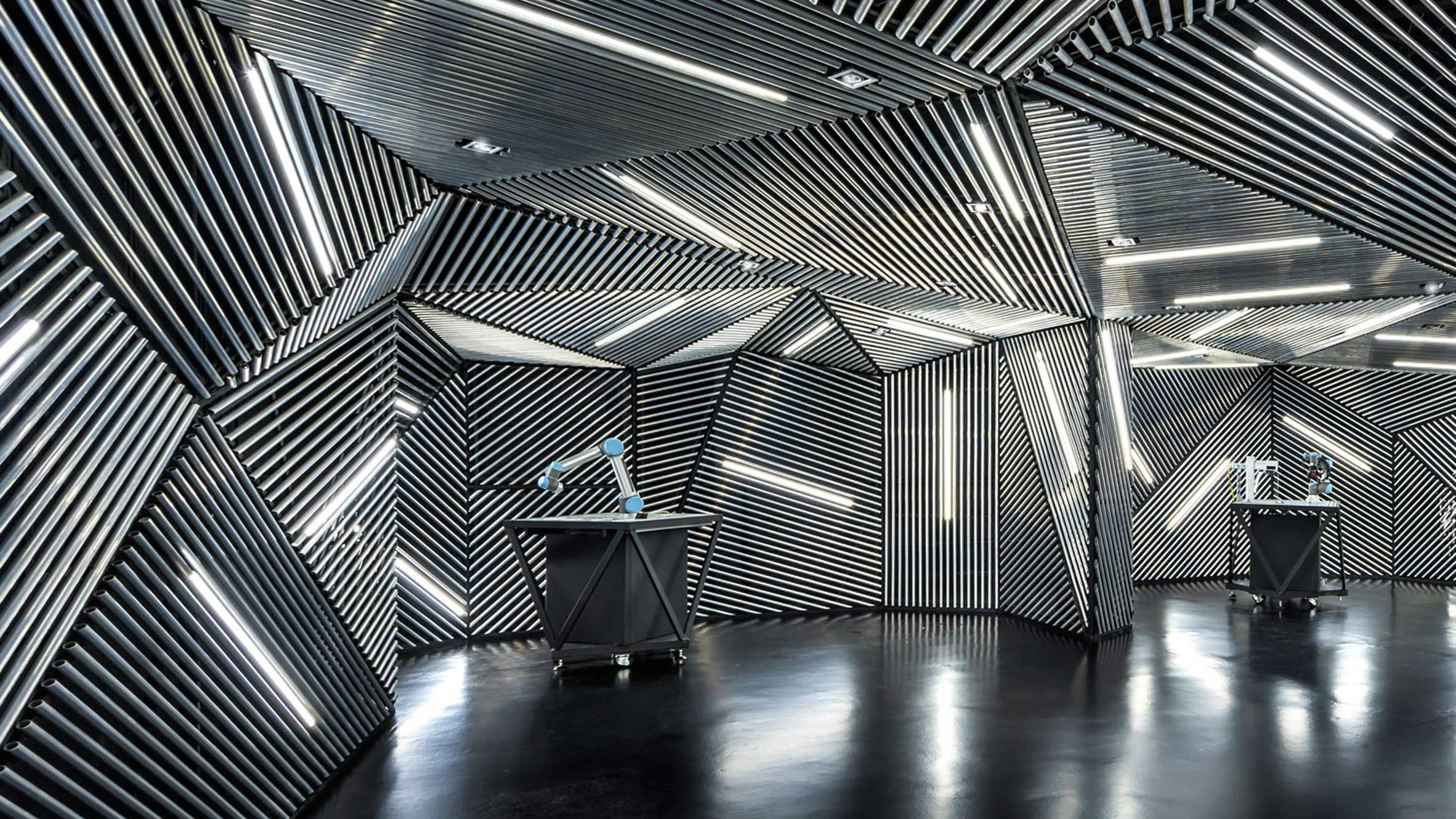 Architects Ministry of Design created this faceted robotics lab in