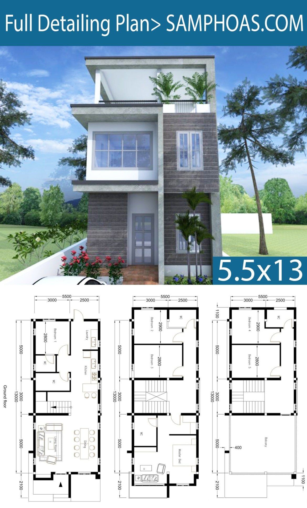 Modern Home Plan 5 5x13m With 6 Bedroom Sims House Design Architectural House Plans Luxury Modern Homes