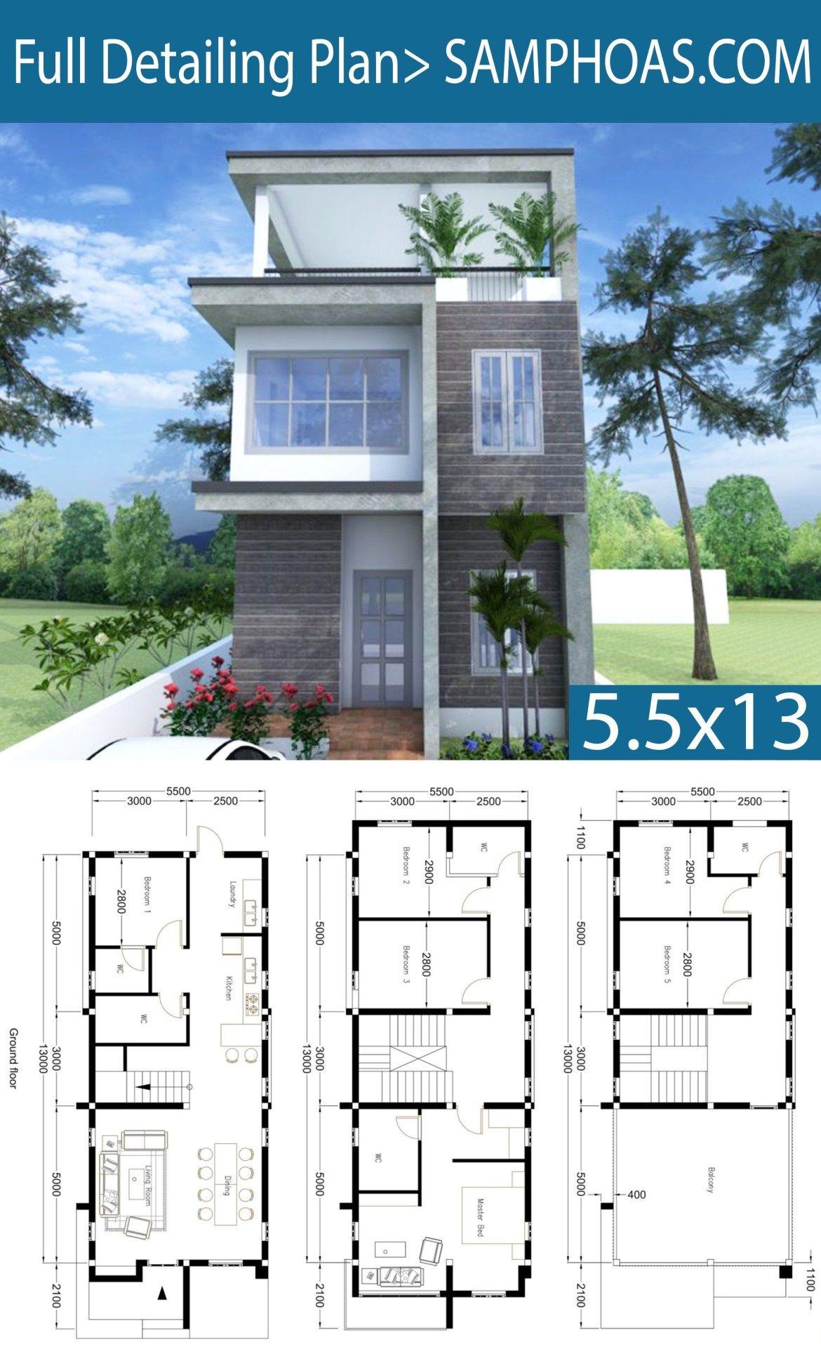 Modern Home Plan 5 5x13m With 6 Bedroom Planos De Casas Pequenas Modernas Disenos De Casas Y Diseno Casas Pequenas