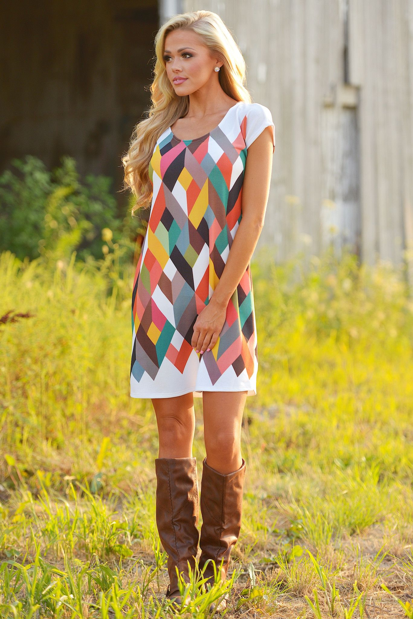 Turning over a new leaf geometric dress from closet candy boutique