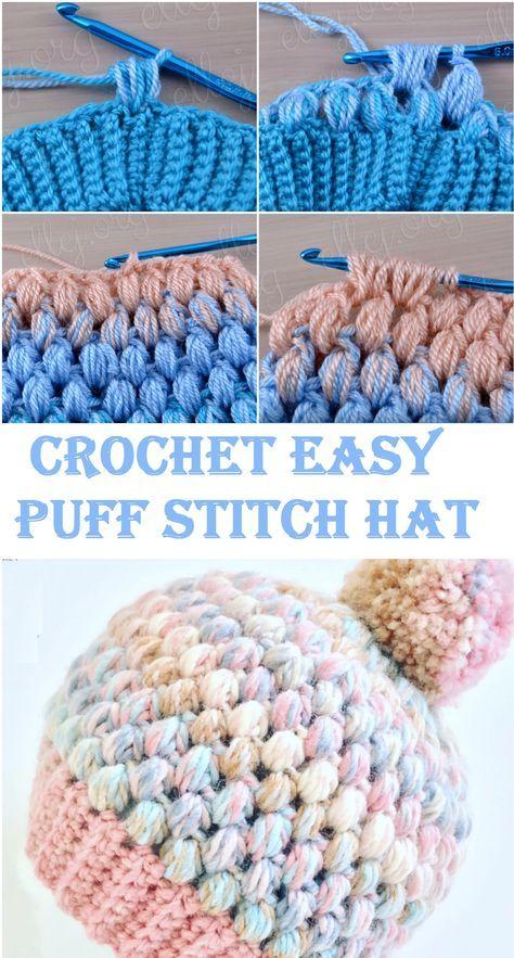 Crochet Easy Puff Stitch Hat | CROCHET | Pinterest | Gorros, Abrigos ...