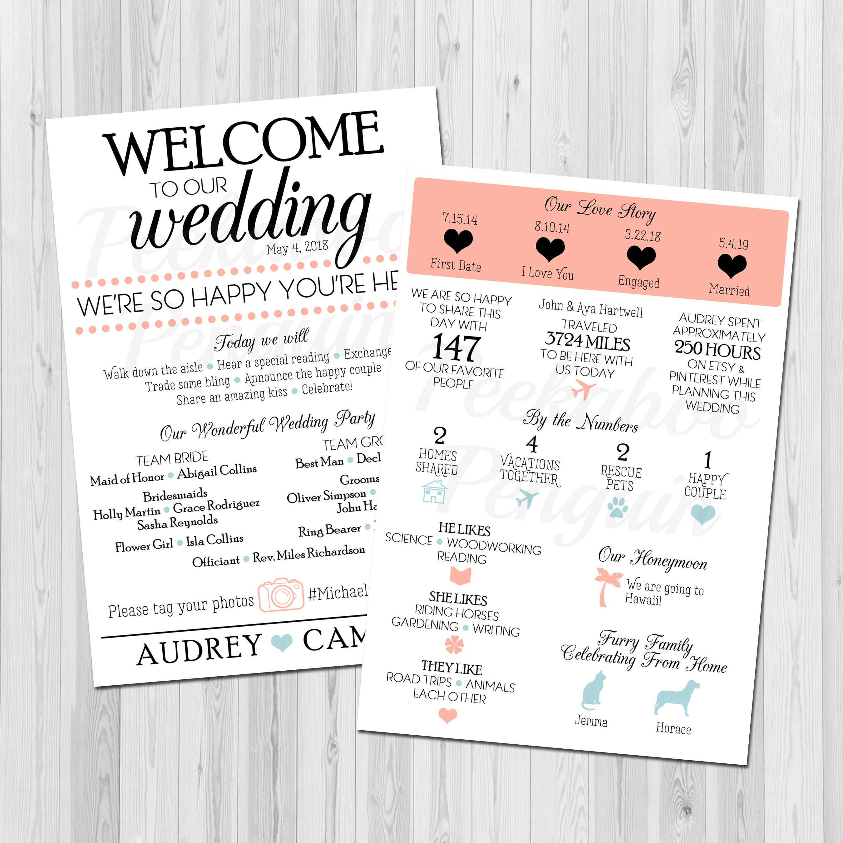 Infographic Wedding Program Creative Wedding Program Blue and Peach Wedding Program Fun Facts Program Printable Program Unique Program