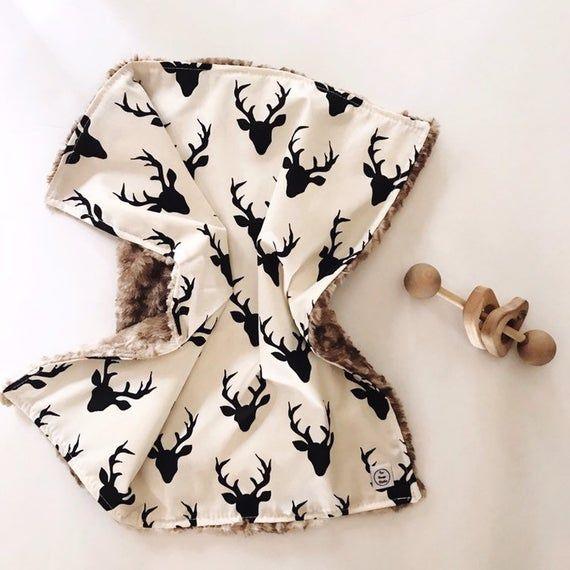 White And Black Deer Baby Lovey, Faux Fur Lovey, Woodland Lovey, Deer Security Blanket, Deer Crib Be #securityblankets