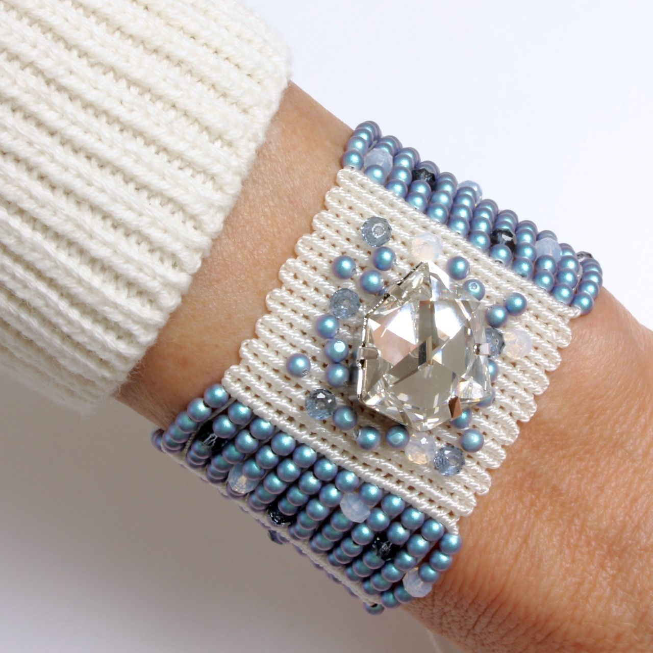A Swarovski Innovation s/s 2018 design using tiny pearls, rondelle crystals and the fabulous tilted dice fancy stone. www.dorothywood.co.uk