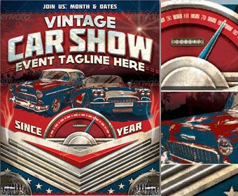 Vintage Car Show Flyer Template  Trap Bar Oktoberfest