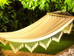hanging cotton canvas bed skirt relax hammock swing tree cot camp garden bedding